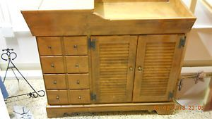 Ethan Allen Dry Sink Wood Drawers Furniture Louvered Doors