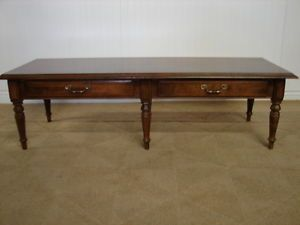 Ethan Allen Vintage Cherry Coffee Table Two Drawers Parquet Top Finish 204