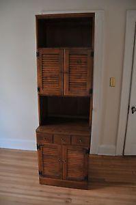 """Ethan Allen 24"""" Shutter Door Cabinet w Upper Bookcase"""