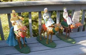 """Antique Large 16"""" Tall Wise Men King Nativity Figurines"""