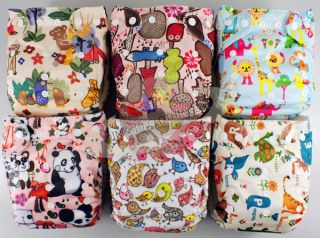 "Cute re Usable Bamboo Baby Diaper Cloth Nappy Bamboo Insert ""Funny Zoo""6 Style"