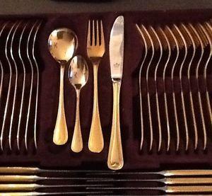 Solingen Germany 23 24 Karat Gold Plate Flatware Set 12 Place ...