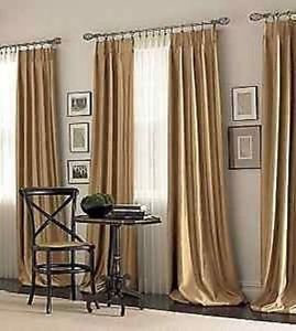 Chris Madden Mystique Interlined Drapes Aspen Gold Pinch Pleated Curtains