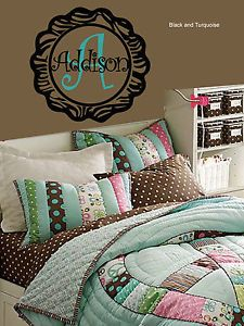 Zebra Print Monogram and Name Vinyl Wall Sticker Accent Peace Sign Bedding