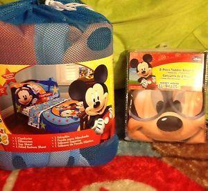 Disney Mickey Mouse 6 Pcs Toddler Bedding Set Kids Room Extra Sheet Set Baby