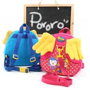 D Baby Pororo Backpack Bag with Safety Harness for Kids Toddler Baby