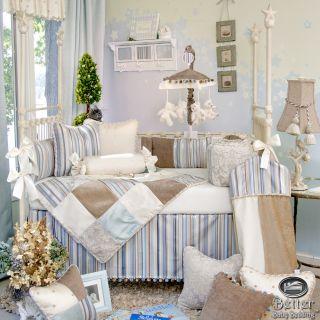 Glenna Jean Baby Boy Blue Brown Prince Luxury Crib Nursery Quilt Bedding Set