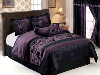 7 Pcs Flocking Floral Pleated Comforter Set Bed in A Bag Queen Black Purple