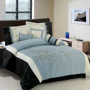 7 Piece Comforter Set in King or Queen Black Ivory Blue Grey Bedding Set