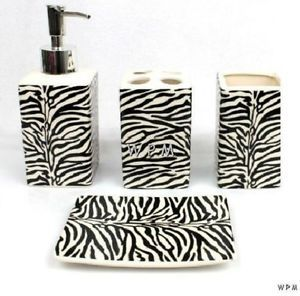Bath Accessory Set 4 PC Black White Zebra Animal Print Bathroom Vanity Dispenser