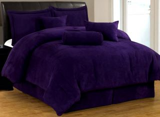 New Bed in A Bag Solid Purple Suede Comforter Set Twin Full Queen King Cal King