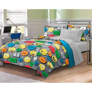 Text Message Smiley XL Twin Comforter Set Bed in Bag Teen Girl College Bedding