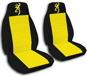 Cute Car Seat Covers Velour Yellow Black w Yellow Browning Front Rear Bench