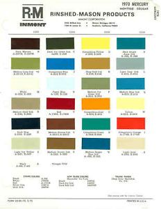 1970 Mercury Montego Cougar Paint Color Chart Ext INT70