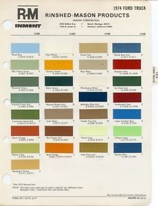 1974 Ford Truck Paint Color Chart 74 RM Inmont Interior Exterior