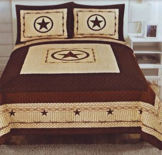 Western Style 3pc Quilt Bedspread Comforter Set Star Barbed Wire Oversized King