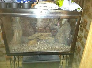 Vintage 29 Gallon Stainless Steel Fish Tank Aquarium with Metal Stand