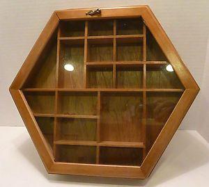 Wood Glass Knick Knacks Wall Hanging Shadow Box Shelf Curio Cabinet Display Case