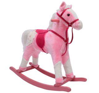 Classic Rocking Horse Children Vintage Plush Rocking Toys w Sound Light Pink