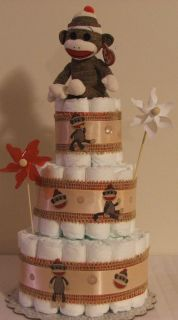 3 Tier Diaper Cake Sock Monkey Boy or Girl Baby Shower Centerpiece