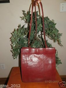 Wilsons Italian Leather Pelle Studio Red Handbag Purse Bag Tote
