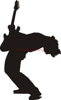 Guitar Player Rock Silhouette Decal Removable Wall Sticker Decor Personalised