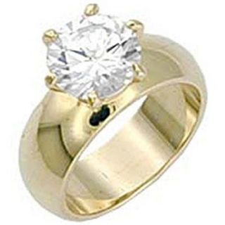 Round Solitaire Wide Band Engagement Ring Yellow Gold EP 4 5 Ct Cubic Zirconia