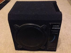 """Alpine SBS 254F Powered Car 10"""" Subwoofer Sub 5 Channel Amp 80W Nice Condition"""