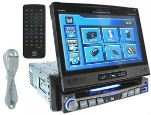 """Dual Car Audio 7"""" DVD CD MP3 Player in Dash Touch Screen iPod USB Stereo Monitor"""