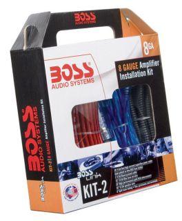 "Boss BASS1200 10"" 1200W Low Profile Amplified Car Subwoofer 8 Gauge GA Amp Kit"