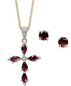 Macy's January Birthstone Garnet 18K Gold Plated Sterling Silver Jewelry Set