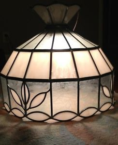Vintage Tiffany Style Stained Glass Light Fixture Ceiling Hanging Lamp Shade