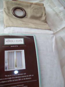 Allen Roth Fabric Sheer Curtain Barista White Tan Trim Aged Bronze Grommet