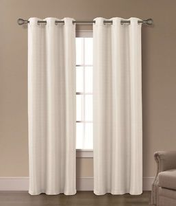 Pair of Isabelle Ivory Jacquard Window Curtain Panels w Grommets