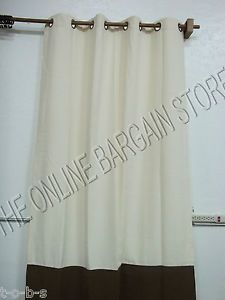 1 Pottery Barn Banded Outdoor Patio Grommet Window Panels Drapes Curtains 50x84