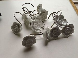 Restoration Hardware White Rose Floral Shower Curtain Hooks Vintage Look