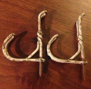 2 Vintage Antique Metal Twist Wire Iron Coat Hat Hooks Rustic Shabby