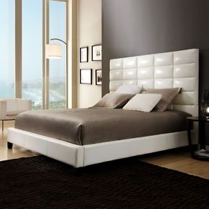 High Back Headboard Modern White Queen Size Sized Bed Frame New