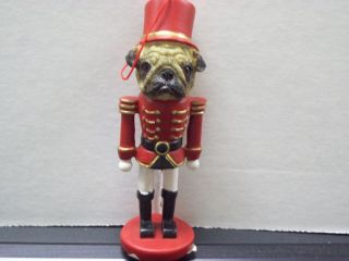 Holiday Christmas Pet Decor Knick Knack Statue Figurine Ornament Pug Soldier