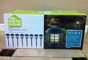HGTV Home Solar Pathway Lights 8 PC Outdoor Path Landscape Lighting Front Yard