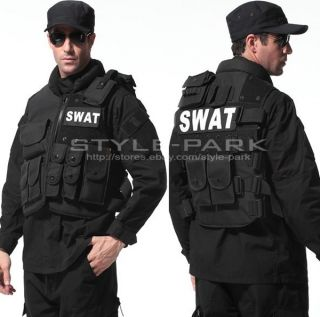 SWAT CS Airsoft Game Law Enforcement Tactical Military Vest Combat Pistol Black