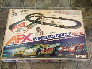 Vintage AFX Winners Circle HO Slot Car Race Set 16ft Complete