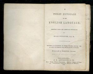 1864 Pocket Dictionary English Language Abridged American Dictionary Webster