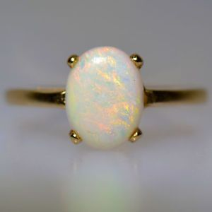 1 01 Carat Australian Opal Ring Yellow Gold Estate Vintage Solitaire Natural