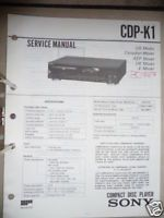 Service Manual FÜR Sony CDP K1 CD Player Original