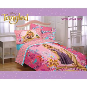 Kids Disney Tangled Twin Full Comforter Sheets Bedding Set Girls Bed Room