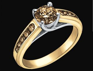 1 51 Carats Champagne Cognac Diamond Ring Yellow Gold