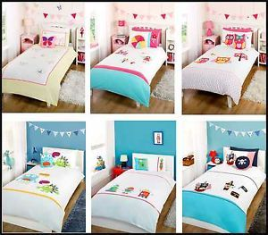 Nursery Kids Childrens Boys Girls Bedding Duvet Set Embellished 100 Cotton T200
