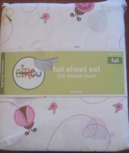 Target Circo Pink Brown Yellow Ladybug Sheet Set Full Double Kids Girls Bedding