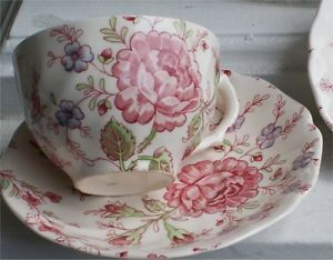 Johnson Brothers China Rose Chintz Pink White Cup Saucer Pat Inside